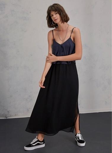 Pi π Üstü Saten Elbise Siyah